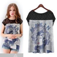 New Women`s Europe Wind Retro Beauty Prints Lace Spliced Short-Sleeve Chiffon Tops Big Loose T-shirts Blouses Size S/M/L/XL*A114