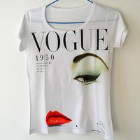 2014 3D Printed Punk Rock Women Short T shirt Tee Tops For Women Eye Lip Camisetas Camiseta Feminina