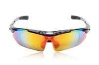 WOLFBIKE Polarized Cycling Eyewear Sun Glasses Mens Sports Bicycle Glasses Bike Sunglasses Driving Skiing Goggles 5 Lens Black