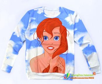 2015 nuevas mujeres / hombres de la sirena slim Arie princesa imprimir jerseys Hoodies lindos 3d sudaderas de dibujos animados camisetas Galaxy superiores