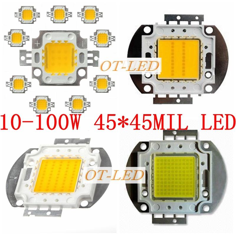 Freeshipping!10PCS/lot 10W 20W 30W 50W 100W 45MIL White/Warm White/ LED Emitter Chip DIY Lamps(China (Mainland))