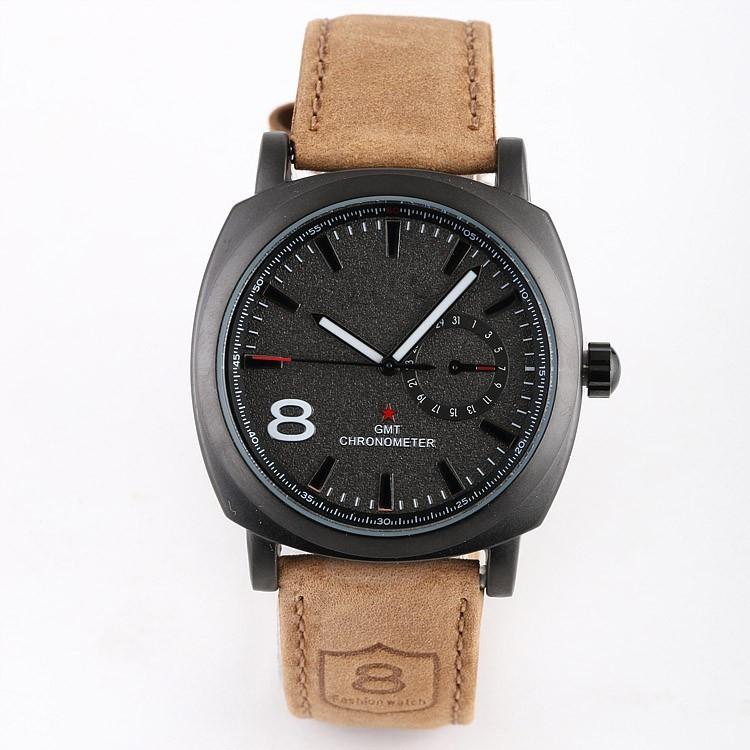 2014 new fashion Business Quartz watch Men sport Watches Military Watches Men Corium Leather St
