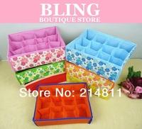 Top.1 Seller Hot Sale Free Shipping Random Color Folding 12 16 Grid Storage Box For Bra,Underwear,Socks