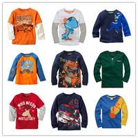 Brand 2014 Boys T-shirt Kids Tees Baby Boy tshirts Children tees Long Sleeve 100% Cotton Cars Fireman Top Quality Free Shipping