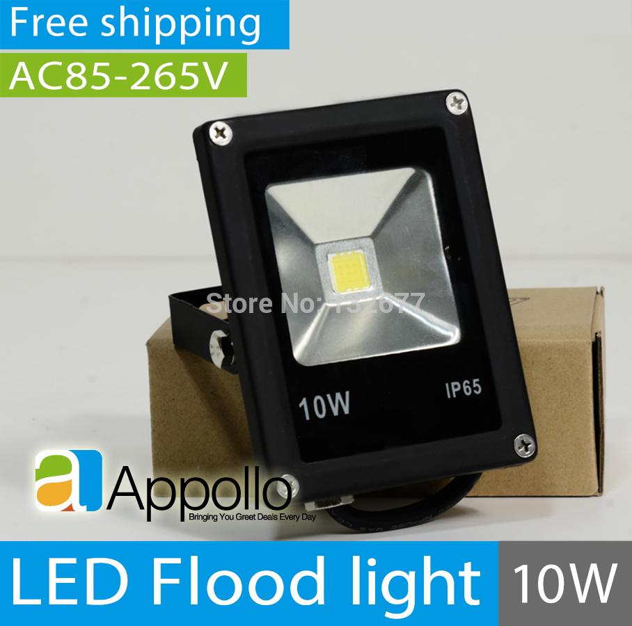 40pcs/lot ultrathin LED floodlight 10W AC85-265V waterproof IP65 black shell garden outdoor lighting flood light Free shipping(China (Mainland))