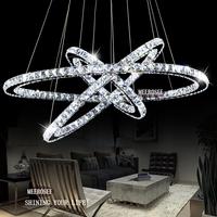Hot Selling 3 Diamond Ring Crystal Light Fixture, LED Pendant Light suspension Lumiere Modern LED Lighting Circles Lamp MD8825
