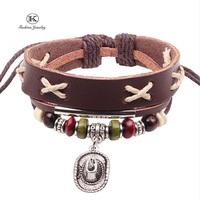 2014 New Fashion Jewelry Charm Genuine Leather Bracelet with Handmade Braided rope Unisex for Men & Women Vintage Style bracelet