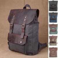 Men Women Knapsack Backpack For Feminina Mochila Masculina Escolar Genuine Leather Canvas Rucksack Preppy School Bag S316