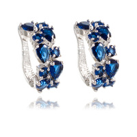 2014 Brand New FASHION Blue Hoop Crystal Zirconia Stud Earrings for Women
