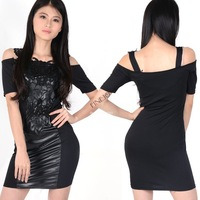 2014 New European Fashion Women Leather Black Bodycon Bandage Dress with Embroidery Plus Size 20104 b14