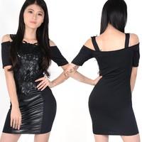 2014 New European Fashion Women Leather Black Bodycon Bandage Dress with Embroidery Plus Size 20104*