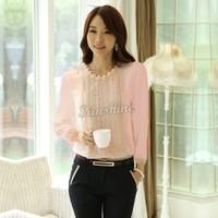 2014 New Elegant Lace Blouse Long Sleeve Blouses Women Tops Chiffon Shirts Embellished 2 Colors 4 Sizes B2 20036