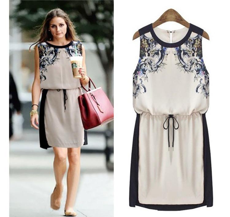 Casual dress Women Printed dress Fashion 2014 New Hot sales Summer Women's clothing Chiffon Pinched Waist Women Clothes(China (Mainland))