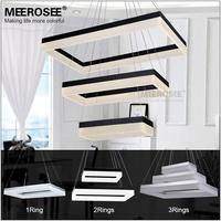 Rectangle Black Silver LED Pendant Light Fixture lustre Suspension LED lamp light Bulbs for Dining Room