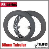 88mm tubular carbon fiber road bike wheels, 700c carbon racing bicycle wheelset