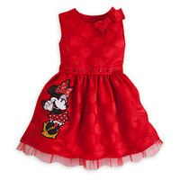 2014 Worsted Real Infantis Cotton Cartoon Minnie Dresses Big Dots Girls Princess Dress Vestido Infantil Festa Princesa Roupas