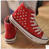 2014 spring summer new rivet  high top lace canvas shoes woman  flat   student sneakers 4 color 35-40 plus size tenis