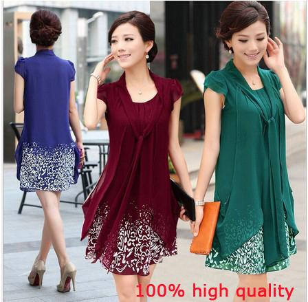 Summer dress Women 2015 Brand Casual Dress Loose Short Sleeved Print Dresses Plus Size Chiffon Dress vestidos(China (Mainland))