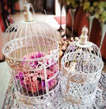 1 conjunto de 2 Metal gaiola de ferro da antiguidade do vintage casa pássaro branco casamento decorativos gaiola decoração, titular do cartão , a gaiola para a decoração(China (Mainland))