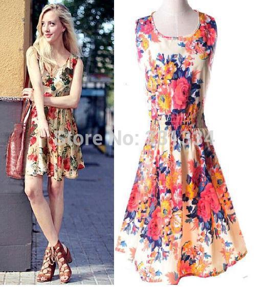 Fashion New 2014 Summer Women Dress Hot Selling Loose Animal Printed women's Chiffon vestido Hawaii Flower Heart Sale mini dress(China (Mainland))