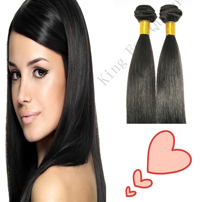 100g pc 5A Peruvian virgin hair silky straight off black(#1b) 100%human hair Free shipping King For Queen top hair extensions(China (Mainland))