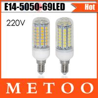 High Light LED Bulb lamps E14 69 LEDs 15W Corn Light 220V High quality Chips 5050 led lustres lighting Drop Shipping 5pcs/lot