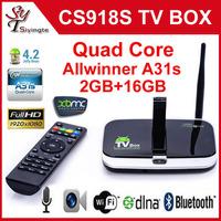 CS918S Android 4.2 .2 Quad Core Allwinner A31S 2G / 16GB Smart Tv Box 5.0MP Camera MIC XBMC Bluetooth 4K HDMI TV Media Player