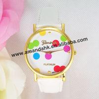 100pcs/lot,New Fashion Leather GENEVA Watch For Ladies Women Dress cute polka dots leather watch.