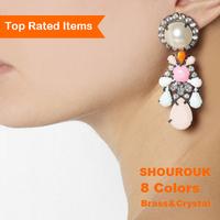 8 colors Shourouk brass round earrings 2014 luxury fashion big crystal flower vintage women statement drop earring jewelry