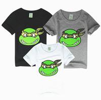 Hu sunshine wholesale new 2014 summer boys Turtles T-shirt Cartoon Cotton white black gray Tees