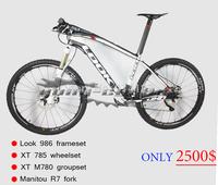2014 mountain bike with look 986 e-post mtb frame/mtb handlebar/mtb wheels/mountain fork/xt groupset/saddle 26er complete bike