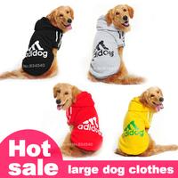 Large dog big dog clothes pet clothes dog spring fall and winter Hooded clothes medium-sized dog Samoyed adidog sport clothes