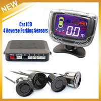 Car LCD 4 Reverse Parking Sensors Backup Radar Kit  Multi- colors sensor system,  Free shipping HongKong Post Air Mail