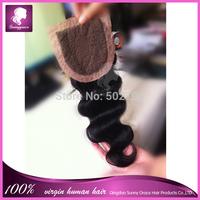 Cheap 4*4 Brazilian Silk Base Closure Body Wave 100% Human Hair Free Middle 3 Part Silk Top Lace Closure Bleached Knots Freeship