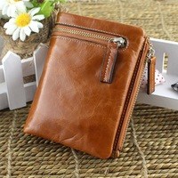 2014 vintage WAX oil cowhide short design wallets first layer of leather vertical wallet unisex two-fold wallet clutch bags