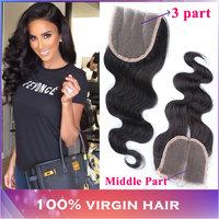 "Top Brazilian Virgin Hair Lace Closure (4""X4"")10""-20"" Body Wave Unprocessed Brazilian Virgin Human Hair Weaves Wavy Closures"