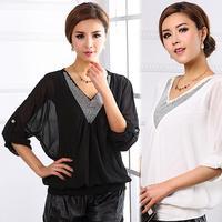 2014 Spring And Summer Women's Plus Size Loose Top Shirt V-Neck Rhinestones Batwing Sleeve Chiffon Shirt Blouse