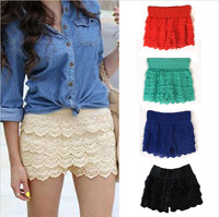 Hot One Piece Fashion & Sweet Cute Women Girls Lady Crochet Tiered Lace Shorts Short Skirts Pants Lace Pants 5 Colors FT456