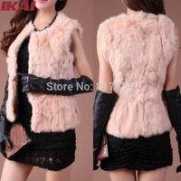 NBA117 Women Rabbit Fur Vest Sleeveless Fur Coat Genuine Fur Waistcoat Zip up Coat Soft Hair Vest Free Shipping