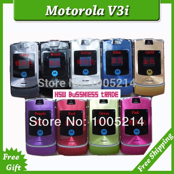 Singapore free shipping Original MOTOROLA RAZR V3i Unlocked GSM ATT T-Mobile Cell Phone Mobile MP3 Video 1.3MP Camera 10 Colors(China (Mainland))
