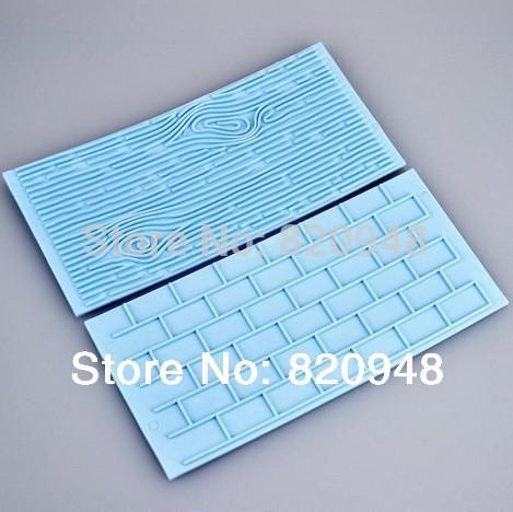 Free Shipping 1 set link wood grain and brick Wall embossers baking tool mould lace Mat decorating fondant Cake Decorating Tool(China (Mainland))
