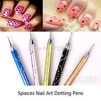 New Nail Art Set 5pcs 2 Ways DIY Dotting Painting Pen Set Nail Tools NA0306