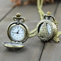 2014 New Fashion Retro Vintage Bronze Steampunk Eiffel Tower Hollow Quartz Necklace Pendant Chain Clock Pocket Watch b23 18825