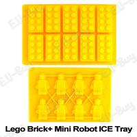 2pcs/set Lego Brick Shaped Silicon Ice Cube Tray & Mini Robot Figure Silicone Chocolate Cake Mold Tray YELLOW. Free Shipping!