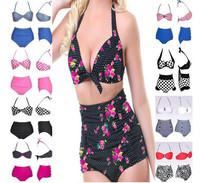 2014 Womens Ladies Girl Sexy Retro Push-up Pin Up Padded High Waisted Bikinis Set Swimsuit Beachwear Swimwear Bathing Suit