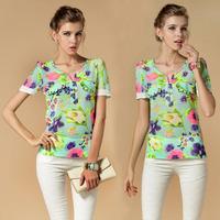Hot Sale chiffon blouse new Cool Summer puff sleeve flowers print Chiffon shirt, short sleeve women blouse summer  S~XXL