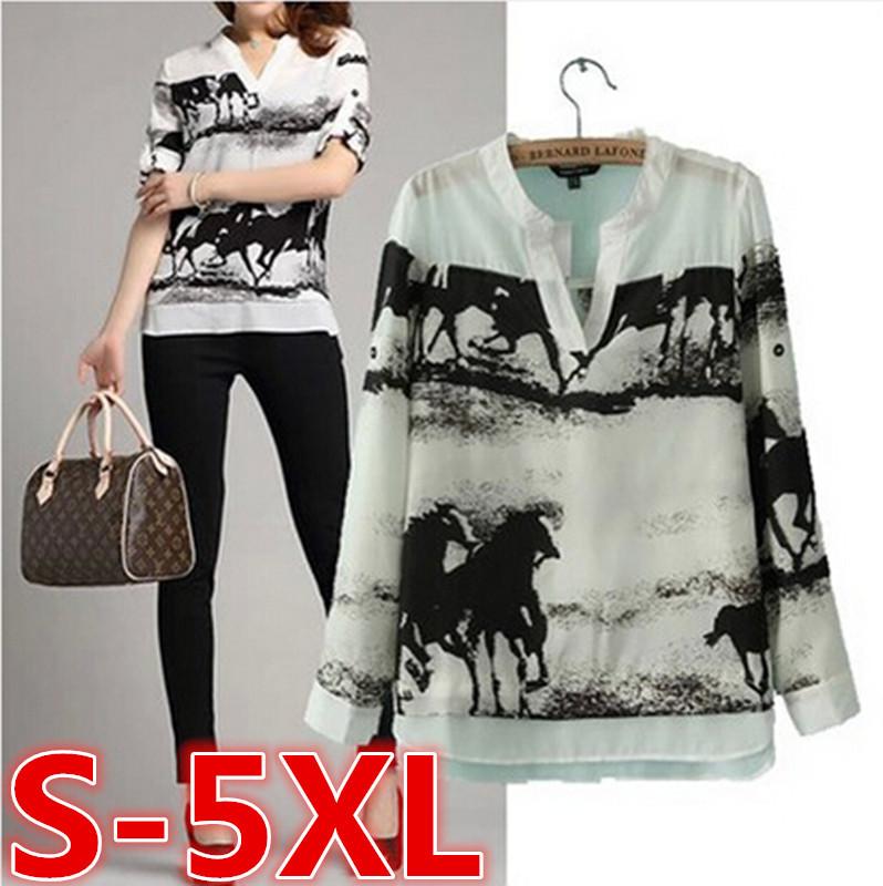 S-5XL Plus size New arrival 2015 desigual sale Horse print V-neck long sleeve white shirt women tops brand blusas chiffon blouse(China (Mainland))