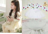kids Flower Yarn Dresss Tutu Girls Dress 2015 NEW Spring & Autumn baby girls Princess dress children Elegance long sleeve dress
