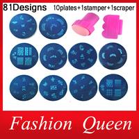81Designs Nail At Template Set, 10pcs Konad Stamping Image Plates and Stamper Scraper,Nail Polish Stamp Manicure Nail Tools