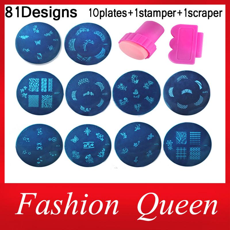 81Designs Nail At Template Set, 10pcs Konad Stamping Image Plates and Stamper Scraper,Nail Polish Stamp Manicure Nail Tools(China (Mainland))